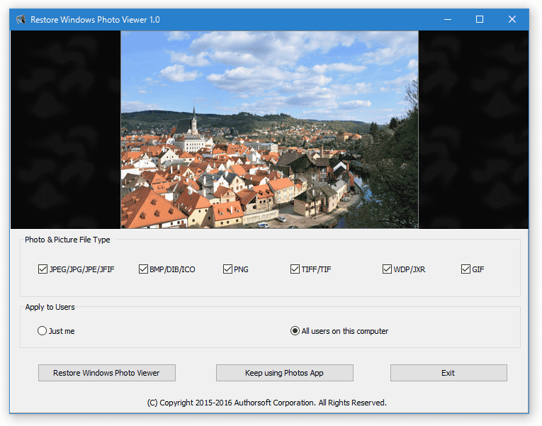 Restore Windows Photo Viewer to Windows 10