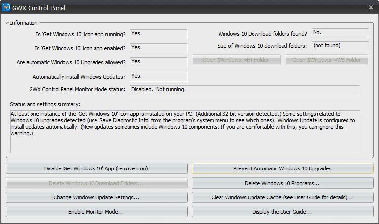GWX Control Panel