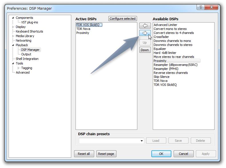 プラグインを、右側の「Available DSPs」欄に送る
