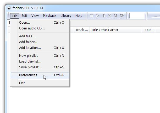 メニューバー上の「File」から「Preferences」を開く