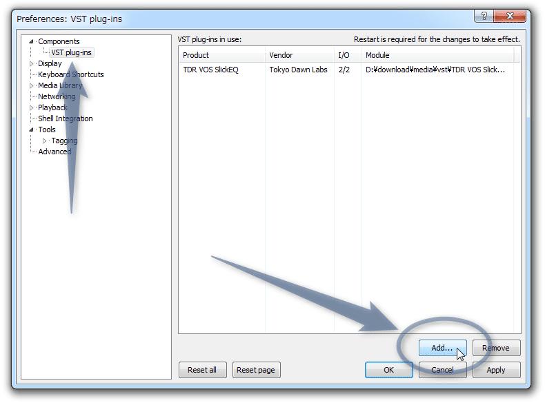 右下にある「Add」ボタンをクリックし、利用したい VST プラグインを選択