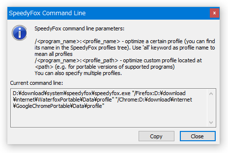 SpeedyFox Command Line