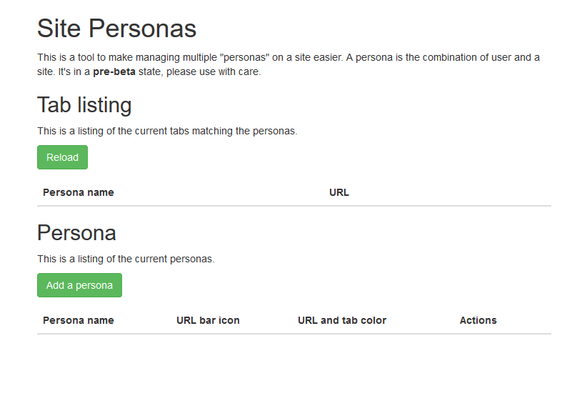 Site Personas