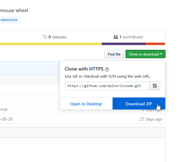 「Clone or download」ボタンをクリック → 「Download ZIP」を選択する