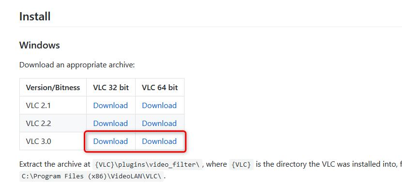 最新版の VLC を使っている場合は、「VLC 3.0」用のファイルをダウンロードする