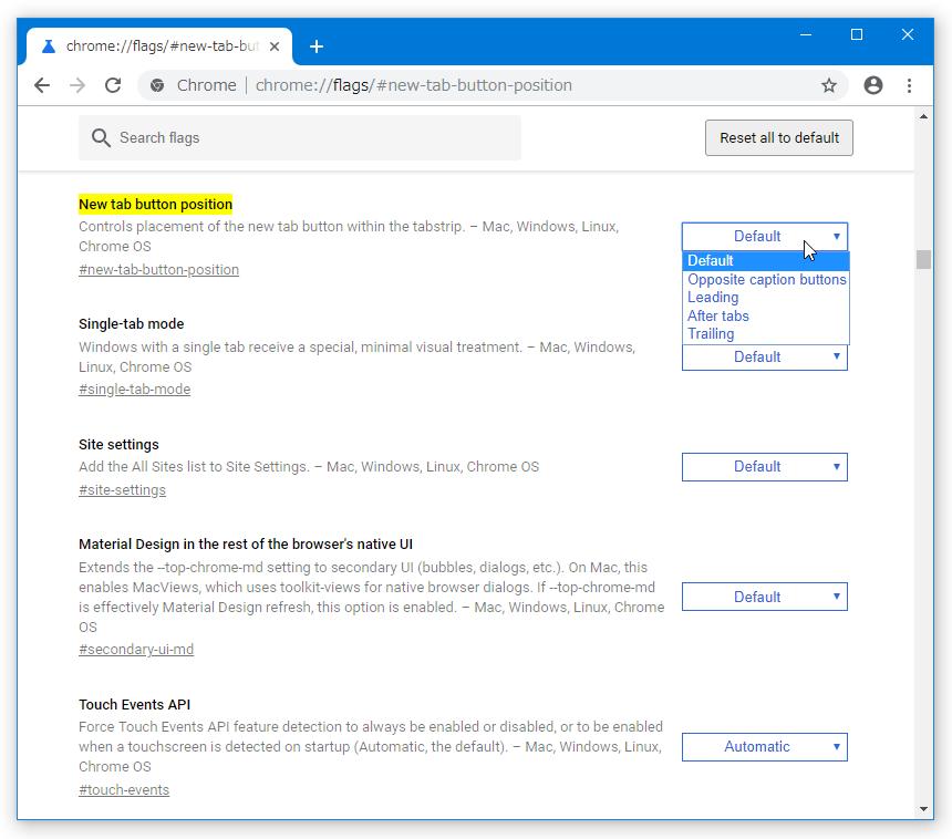 右側にある「Default」ボタンをクリックし、「Opposite caption buttons」「Leading」「After tabs」「Trailing」のいずれかを選択する