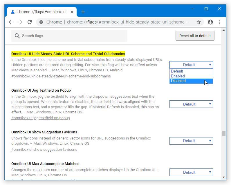 右側にある「Default」というプルダウンメニューをクリック → 「Disabled」を選択する