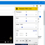 YouTube などの動画サイト上で、動画の音程 / 再生速度 を調整したり、区間リピートを可能にしたりする Chrome 拡張機能「Transpose – Pitch – Loop for videos」