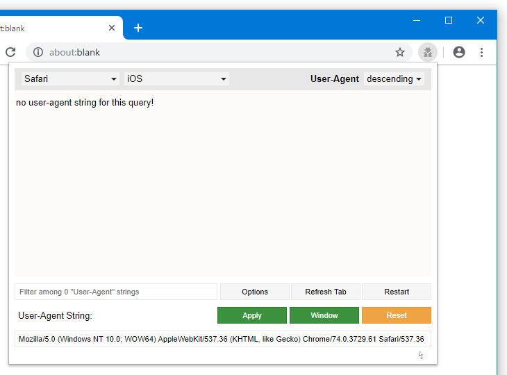 UserAgent が登録されていない場合、「no user-agent string for this query!」と表示される