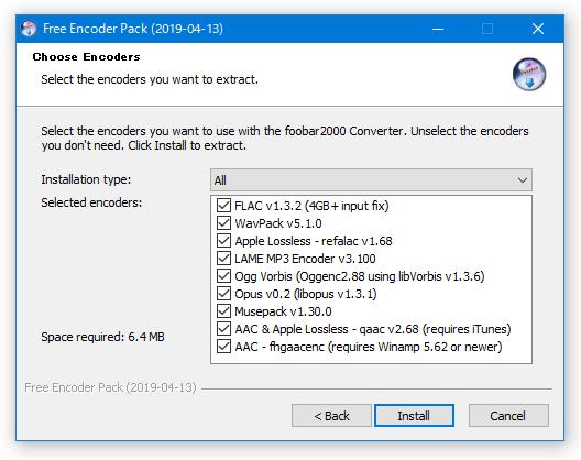 foobar2000 Free Encoder Pack