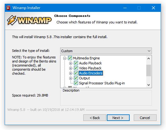 「Multimedia Engine」>「Audio Encoders」にチェックを入れておく