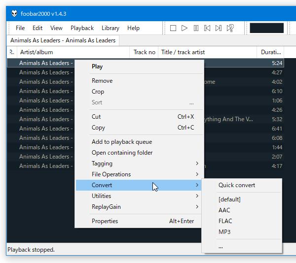 プレイリストで読み込み中のファイルを、各種フォーマットに変換できるようになっている