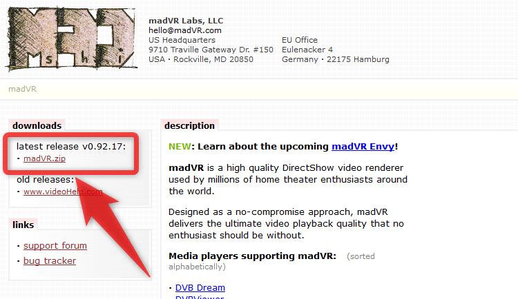 ページ右上にある「madVR.zip」をダウンロードする