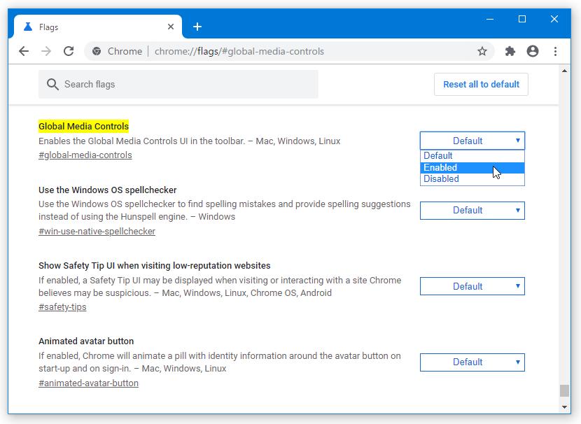 右側にある「Default」というプルダウンメニューをクリック → 「Enabled」を選択する