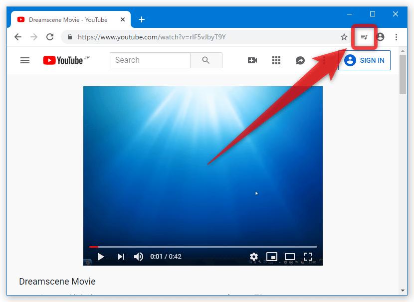 Chrome 78 の場合、音符のようなボタンが表示される