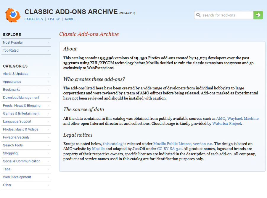Classic Add-ons Archive