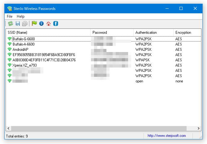 SterJo Wireless Passwords