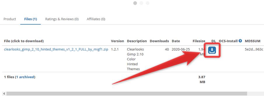 「DL」欄にあるダウンロードボタンをクリックする