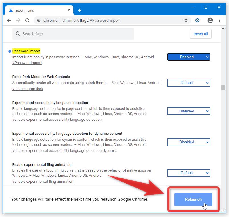 画面下部のバーに表示される「Relaunch」ボタンをクリックする