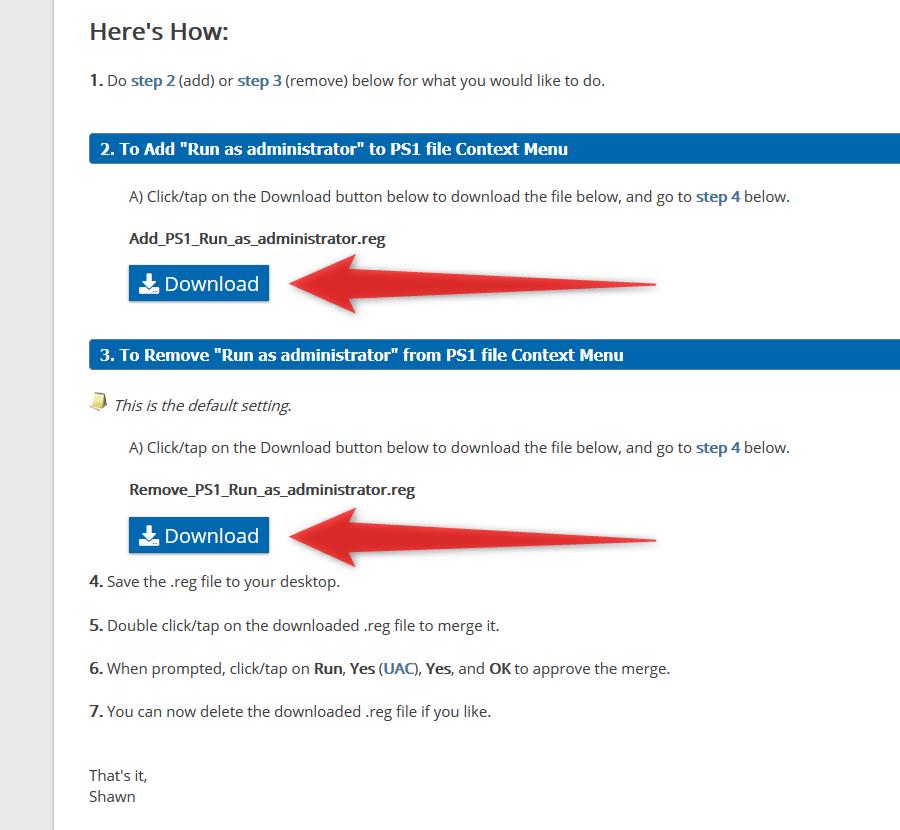 「Add_PS1_Run_as_administrator.reg」「Remove_PS1_Run_as_administrator.reg」の二つをダウンロードする