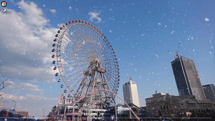 動画に雪のようなアニメーションを被せることもできる