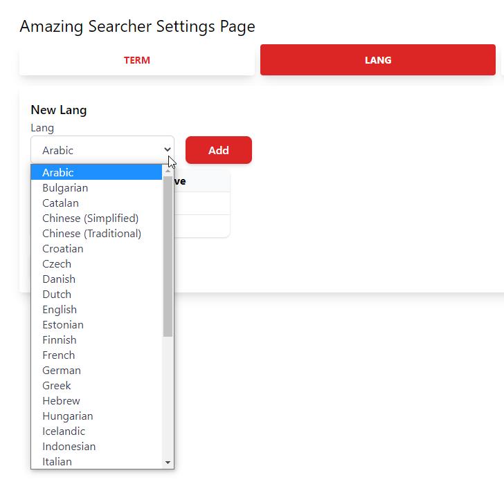 追加する言語を選択して「Add」ボタンをクリックする