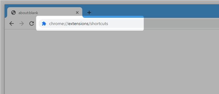 アドレスバー上に「chrome://extensions/shortcuts」と入力して「Enter」キーを押す