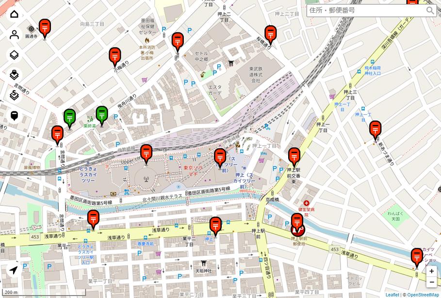 ブラウザから開いた場合、および、アプリで位置情報を許可しなかった場合、東京スカイツリー近辺の地図が表示される